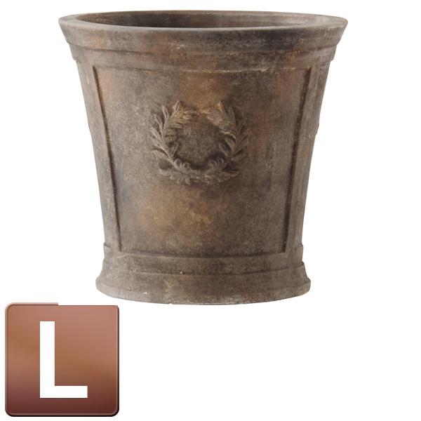 テラコッタ製植木鉢/ローレル ラウンドアンティコ ダルブラウン Lサイズ/B-1/RCP/05P03Dec16/【HLS_DU】