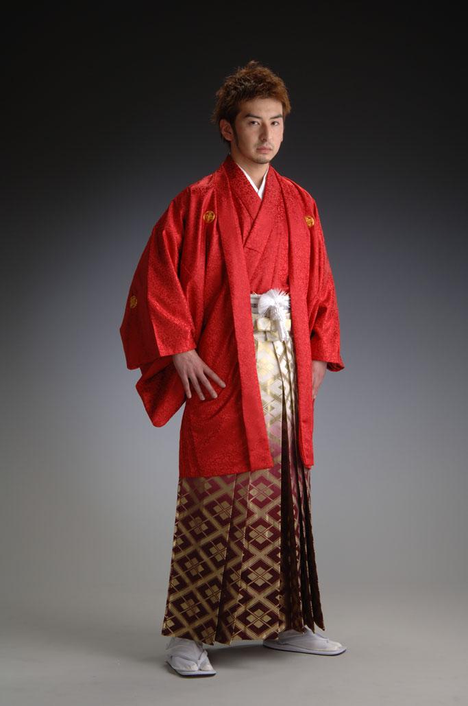 金襴ボカシ袴-赤-[はかま]