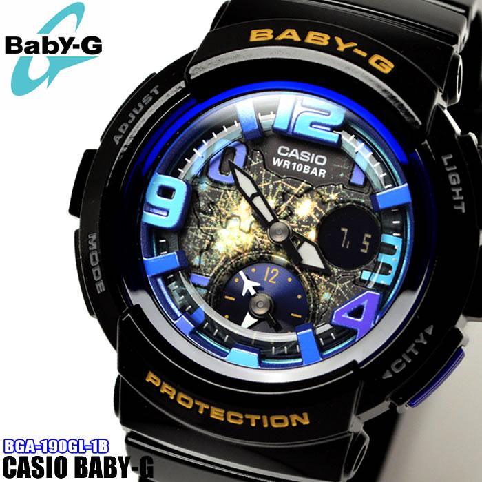 【腕時計 ウォッチ カジュアル スポーツ】CASIO カシオ Baby-G ベビーG BGA-190GL-1B 海外モデル アナログ レディース 腕時計 ウォッチ カジュアル スポーツ 黒 ブラック 青 ブルー プレゼント かっこいい ラッピング無料可能 SNS インスタ