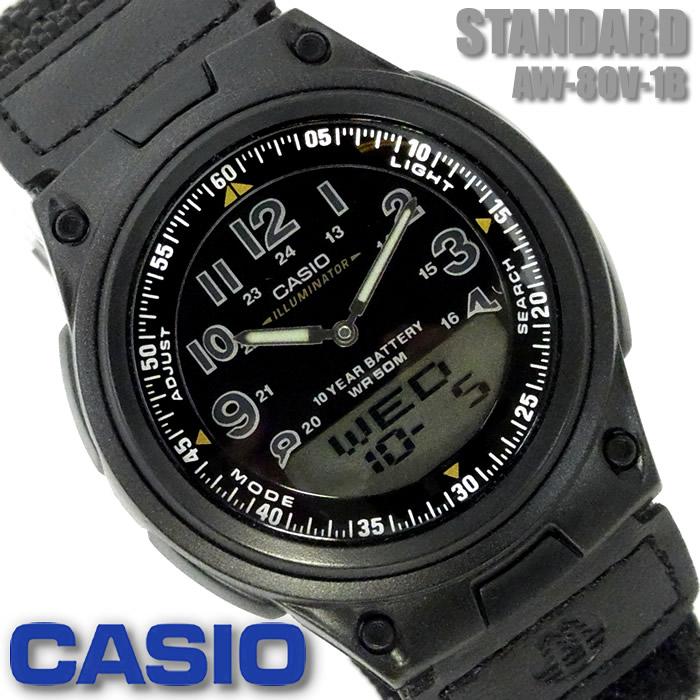 お買得 カシオ CASIO ブランド激安セール会場 スタンダード メンズ レディース 腕時計 アナデジ ギフト ブラック AW-80V-1B おすすめ 黒 プレゼント 人気