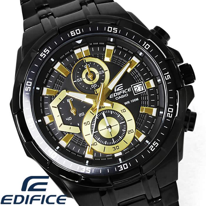 カシオエディフィス watch men CASIO EDIFICE chronograph EFR-539BK-1 leather  phosphorescence. EFR-539BK-1AV calendar foreign countries model  deep-discount ... b68af1301b4