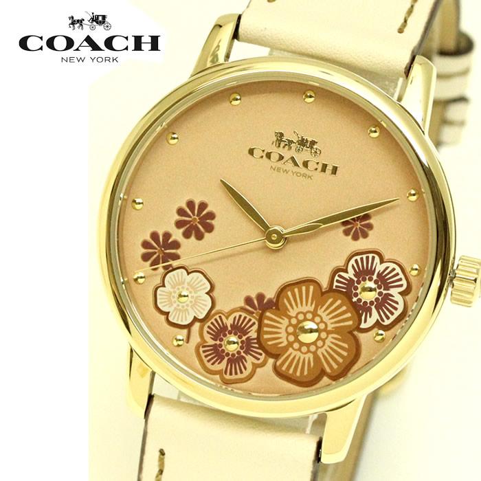 【コーチ】 【COACH】 レディース 腕時計 14503008 GRAND グランド 花柄 36mm レディース腕時計 ウォッチ イエローゴールド アイボリー ブランド 時計 激安 かわいい エレガント 上品 SNS インスタ ラッピング無料可能 プレゼント レザー