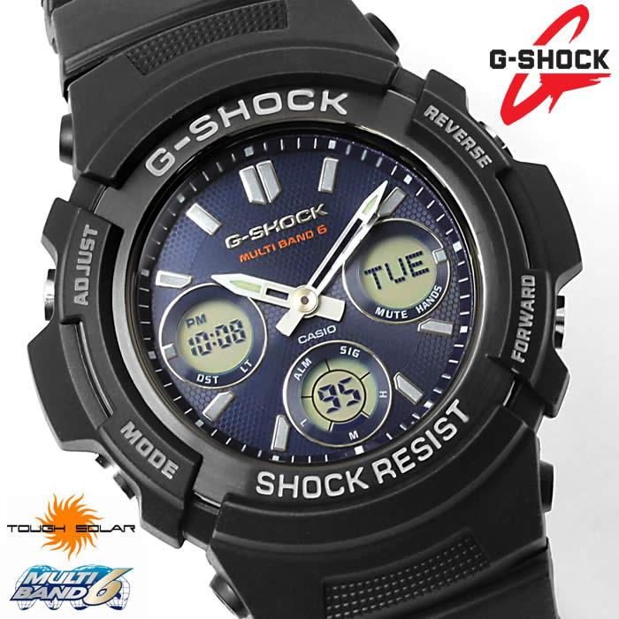 【送料無料】G-SHOCK 腕時計 Gショック 電波ソーラー CASIO カシオ アナデジ AWG-M100SB-2A ジーショック メンズ ブラック ネイビー マルチバンド6 タフソーラー ウレタンベルト 激安 プレゼント ギフト 人気 WATCH うでどけい【G-SHOCK】
