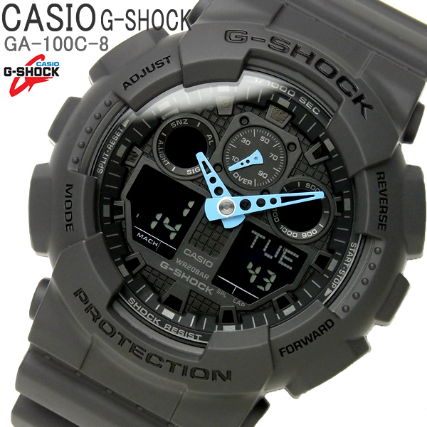 G-SHOCK カシオ 腕時計 CASIO Gショック アナデジ メンズ ウォッチ GA-100C-8 コンビネーション ブラック ブルー 時計 プレゼント ギフト とけい うでどけい WATCH【CASIO/G-SHOCK】【メンズ】【腕時計】