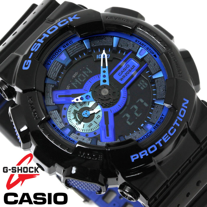 CASIO カシオ G-SHOCK Gショック 腕時計 メンズ アナデジ GA-110LPA-1A ブラック ブルー パンチングパターンシリーズ コンビネーションモデル