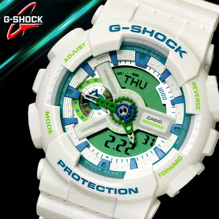G-SHOCK Gショック CASIO カシオ メンズ 腕時計 かっこいい アウトドア カジュアル アナログ デジタル 白 ホワイト 青 ブルー 緑 グリーン ウレタン GA-110WG-7A ブランド ラッピング無料可能 プレゼント 人気 流行 ランキング