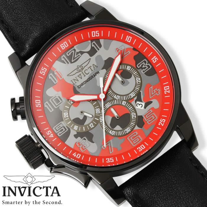 【送料無料】腕時計 メンズ INVICTA フォースコレクション インビクタ クロノグラフ 迷彩 20543 革ベルト レザー カモフラージュ ミリタリー FORCE COLLECTION 激安 ブラック レッド インヴィクタ とけい うでどけい WATCH TOKEI【メンズウォッチ】