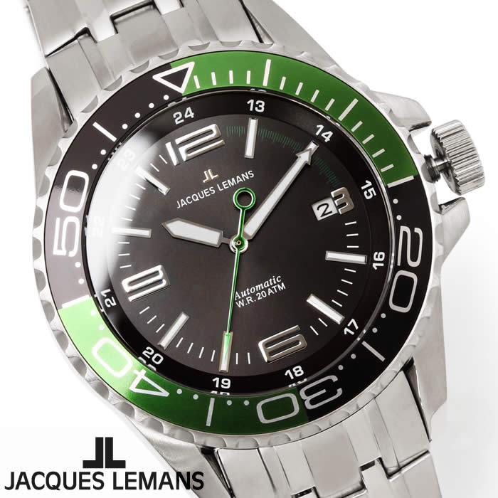 【送料無料】腕時計 メンズ ジャックルマン JACQUES LEMANS 1-1353E リバプール 自動巻き ダイバーズウォッチ 時計 ブランド 防水 グリーン ブラック ステンレス オートマティック とけい うでどけい ウォッチ watch tokei udedokei