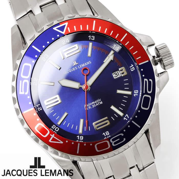 【送料無料】腕時計 メンズ ジャックルマン JACQUES LEMANS 1-1353F リバプール 自動巻き ダイバーズウォッチ 時計 ブランド 防水 ブルー レッド ペプシ ステンレス オートマティック とけい うでどけい ウォッチ watch tokei udedokei