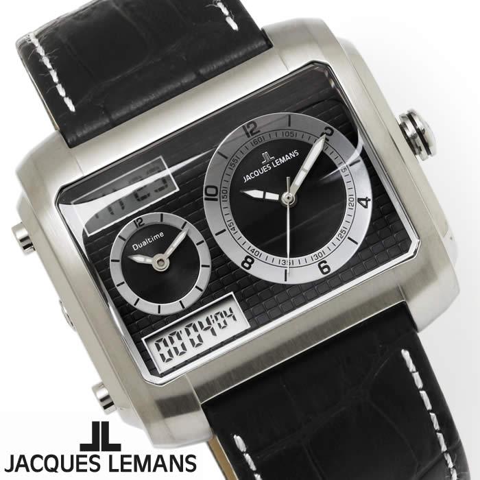 【送料無料】腕時計 メンズ ジャックルマン JACQUES LEMANS 1-1708A マドリード GMT 時計 アナデジ クロノグラフ アナログ デジタル 革ベルト レザー スクエア 多機能 とけい うでどけい ウォッチ watch tokei udedokei