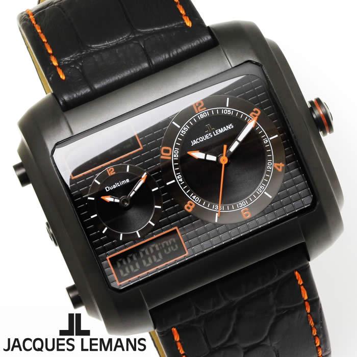 【送料無料】腕時計 メンズ ジャックルマン JACQUES LEMANS 1-1708E マドリード GMT 時計 アナデジ クロノグラフ アナログ デジタル 革ベルト レザー スクエア 多機能 とけい うでどけい ウォッチ watch tokei udedokei