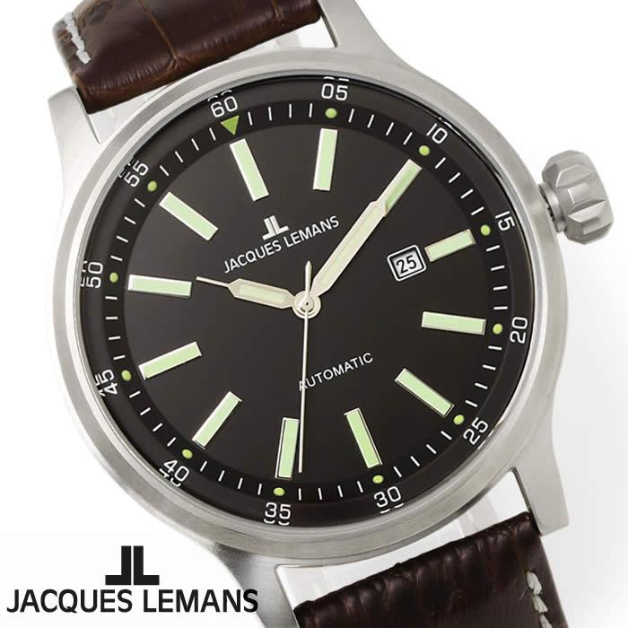 【送料無料】腕時計 メンズ ジャックルマン JACQUES LEMANS 1-1723B ポルト 自動巻き 時計 革ベルト 防水 ブランド レザー 夜光 シンプル 人気 ブラック シルバー グリーン 激安 とけい うでどけい ウォッチ watch tokei udedokei