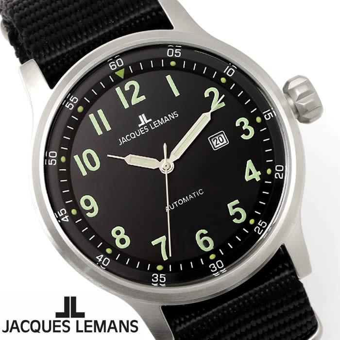 【送料無料】腕時計 メンズ ジャックルマン JACQUES LEMANS 1-1723C ポルト 自動巻き 時計 ナイロンベルト NATOベルト ブランド 夜光 シンプル 人気 ブラック シルバー グリーン 激安 とけい うでどけい ウォッチ watch tokei udedokei