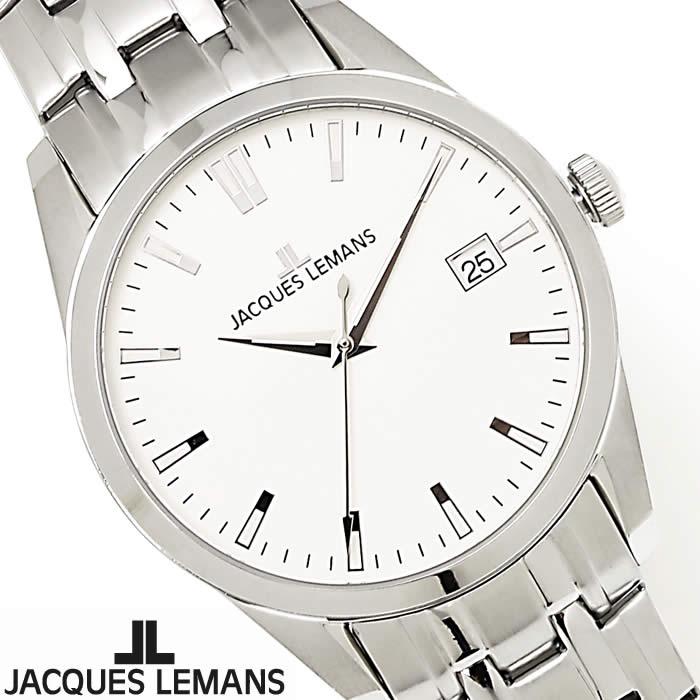 【送料無料】腕時計 メンズ ジャックルマン JACQUES LEMANS 1-1769I マイアミ 時計 オフィス ビジネス ブランド シルバー ホワイト シンプル Miami 薄型 ステンレス 激安 人気 とけい うでどけい ウォッチ watch tokei udedokei
