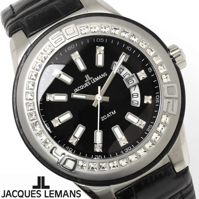 【送料無料】腕時計 メンズ ジャックルマン JACQUES LEMANS 1-1776A マイアミ ラインストーン 時計 ドレスウォッチ 革ベルト ブランド ブラック 個性的 目立つ レザー Miami 激安 人気 とけい うでどけい ウォッチ watch tokei udedokei