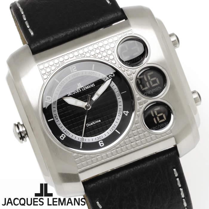 【送料無料】腕時計 メンズ ジャックルマン JACQUES LEMANS 1-1780A マドリード GMT 時計 アナデジ クロノグラフ アナログ デジタル 革ベルト レザー スクエア 多機能 とけい うでどけい ウォッチ watch tokei udedokei
