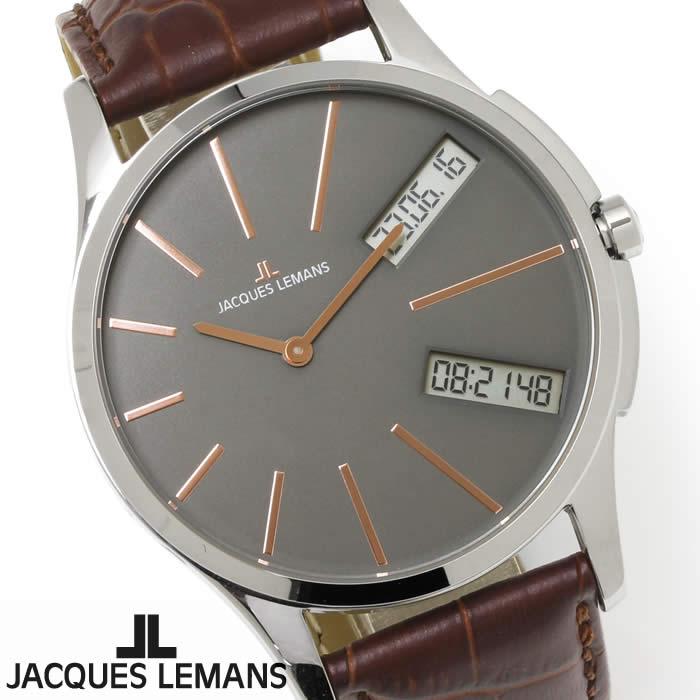 【送料無料】腕時計 メンズ ジャックルマン JACQUES LEMANS 1-1788D ロンドン GMT 時計 アナデジ クロノグラフ アナログ デジタル 革ベルト レザー アシンメトリー 多機能 とけい うでどけい ウォッチ watch tokei udedokei