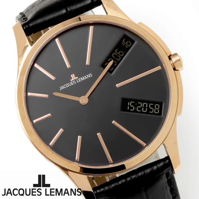 【送料無料】腕時計 メンズ ジャックルマン JACQUES LEMANS 1-1788E ロンドン GMT 時計 アナデジ クロノグラフ アナログ デジタル 革ベルト レザー アシンメトリー 多機能 とけい うでどけい ウォッチ watch tokei udedokei