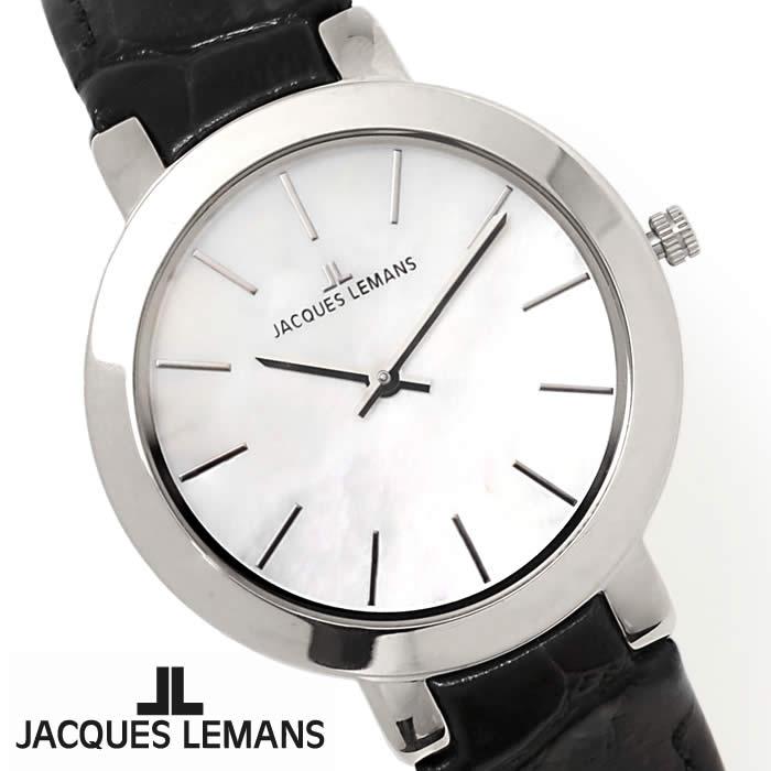 【送料無料】腕時計 レディース ジャックルマン JACQUES LEMANS 1-1824A ミラノ シェル文字盤 時計 白蝶貝 革ベルト ブランド きれいめ オフィス ブラック シルバー 激安 とけい うでどけい ウォッチ watch tokei udedokei