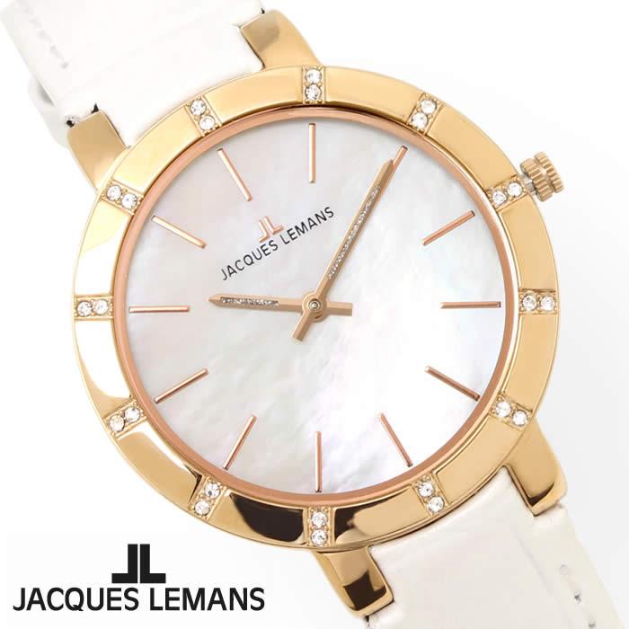 【送料無料】腕時計 レディース ジャックルマン JACQUES LEMANS 1-1825B ミラノ シェル文字盤 時計 白蝶貝 革ベルト ブランド きれいめ オフィス ホワイト ローズゴールド 激安 とけい うでどけい ウォッチ watch tokei udedokei