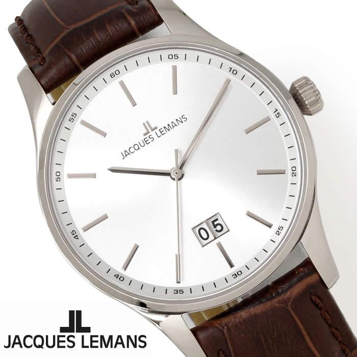 【送料無料】腕時計 メンズ ジャックルマン JACQUES LEMANS 1-1862B ロンドン 革ベルト 時計 防水 シンプル ブランド レザー オフィス ビジネス シルバー ブラウン 人気 激安 とけい うでどけい ウォッチ watch tokei udedokei