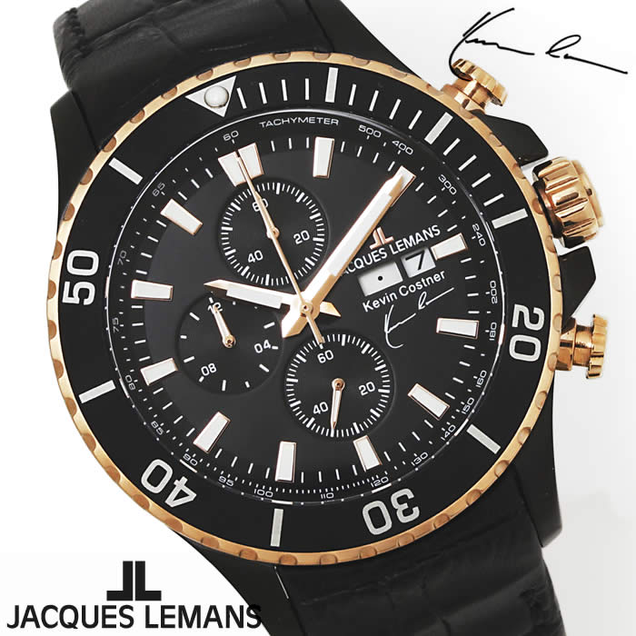 【送料無料】腕時計 メンズ ジャックルマン JACQUES LEMANS 11-1787-1 ケビンコスナー クロノグラフ 時計 ブランド 革ベルト ケビン・コスナー・コレクションローズゴールド ブラック とけい うでどけい ウォッチ watch tokei udedokei