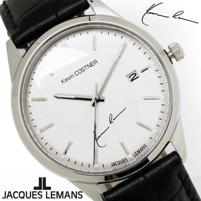 【送料無料】腕時計 メンズ ジャックルマン JACQUES LEMANS KC102A ケビンコスナー 革ベルト 時計 ブランド アナログ ケビン・コスナー・コレクション シンプル シルバー ブラック 激安 とけい うでどけい ウォッチ watch tokei udedokei