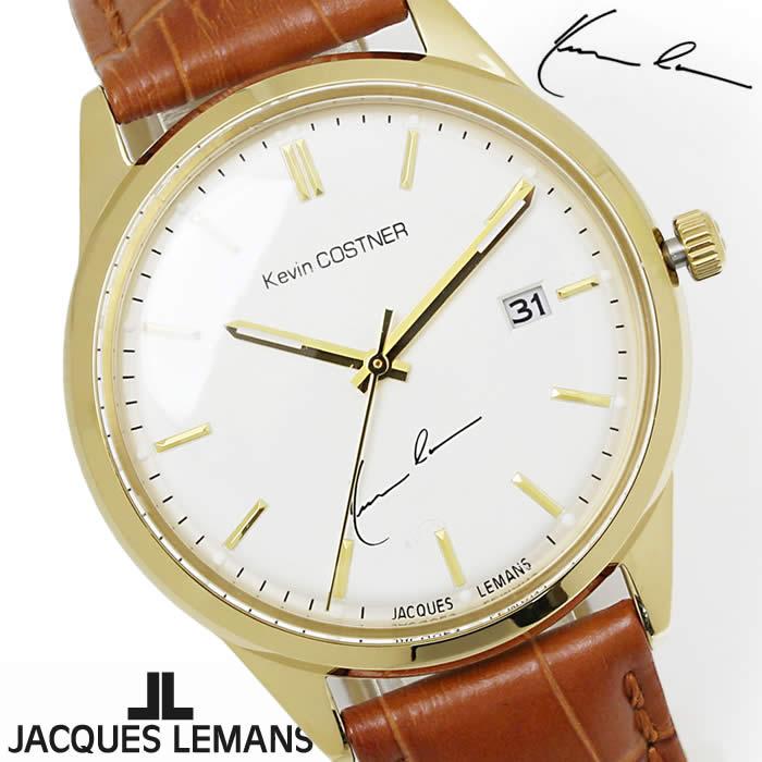 【送料無料】腕時計 メンズ ジャックルマン JACQUES LEMANS KC102B ケビンコスナー 革ベルト 時計 ブランド アナログ ケビン・コスナー・コレクション シンプル ゴールド ブラウン 激安 とけい うでどけい ウォッチ watch tokei udedokei