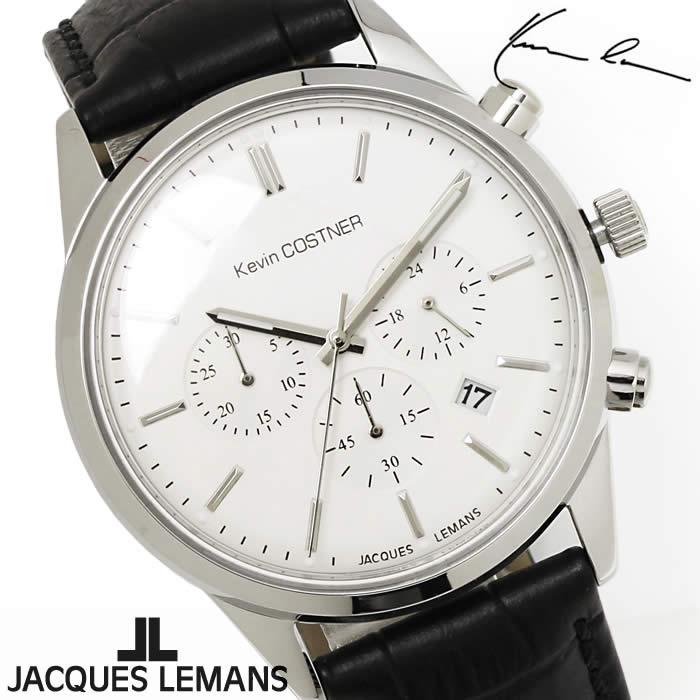 【送料無料】腕時計 メンズ ジャックルマン JACQUES LEMANS KC103A ケビンコスナー クロノグラフ 時計 ブランド 革ベルト ケビン・コスナー・コレクション シンプル シルバー ブラック とけい うでどけい ウォッチ watch tokei udedokei