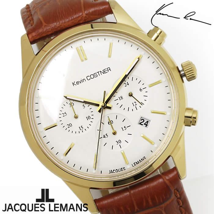 【送料無料】腕時計 メンズ ジャックルマン JACQUES LEMANS KC103B ケビンコスナー クロノグラフ 時計 ブランド 革ベルト ケビン・コスナー・コレクション シンプル ゴールド ブラウン とけい うでどけい ウォッチ watch tokei udedokei