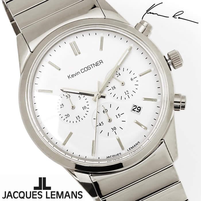 【送料無料】腕時計 メンズ ジャックルマン JACQUES LEMANS KC103D ケビンコスナー クロノグラフ 時計 ブランド アナログ ケビン・コスナー・コレクション シンプル シルバー とけい うでどけい ウォッチ watch tokei udedokei