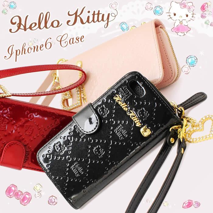 ハローキティ iPhone6ケース 手帳型 iPhoneケース Hello Kitty 本革 エナメル HKL4-14 サンリオ レザー SANRIO 財布付き コインケース付き カードケース付き キティ モノグラム 人気 プレゼント 高級 就職祝い 入学祝い