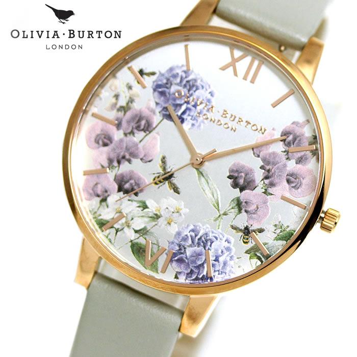 オリビアバートン Olivia Burton レディース 腕時計 パーラービーブルーム OB16PL30 ホワイト×グレー シンプル エレガント 女性らしい 華やか フェミニン ラッピング無料 SNS おしゃれ かわいい 女性 プレゼント ホワイトデー ブランド 上品
