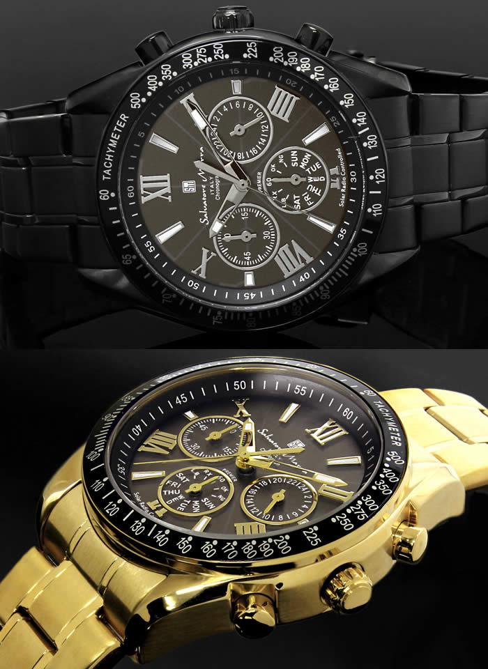 e187941ae2263b 【送料無料】腕時計メンズ電波ソーラー腕時計時計サルバトーレマーラクロノグラフ電波腕時計