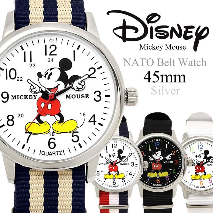 腕時計 ディズニー Disney ミッキーマウス 薄型 NATOベルト ユニセックス メンズ レディース 45mm ナイロンベルト ダニエルウェリントン風 人気 プレゼント ギフト Mickey Mouse うでどけい 時計 とけい Watch【腕時計】【ディズニー】:HAPIAN
