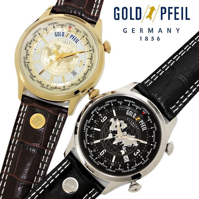【送料無料】腕時計 メンズ ゴールドファイル ワールドタイム GOLD PFEIL G21000 革ベルト 本革 ブランド ウォッチ GMT シンプル レザー ビジネス 時計 プレゼント ギフト 人気 激安 特価 WATCH うでどけい【腕時計】【GOLD PFEIL】