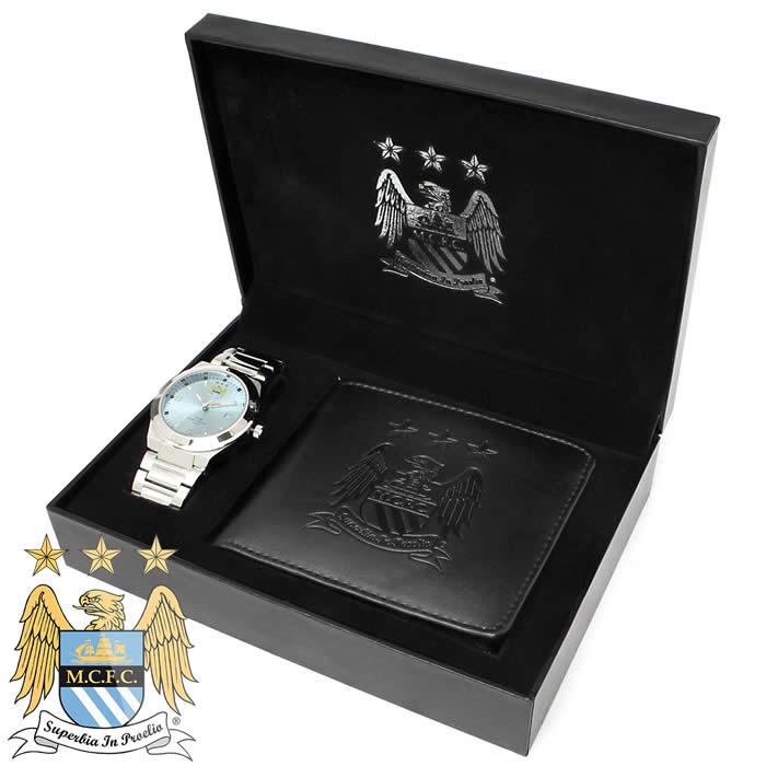 フットボールウォッチ ギフトボックス 腕時計 マンチェスター・シティFC 短財布 折財布 オフィシャル メンズ Manchester City GA5753SET ブランド FOOTBALL WATCHES さいふ サイフ 財布 うでどけい とけい【プレゼント/ギフト】【人気】