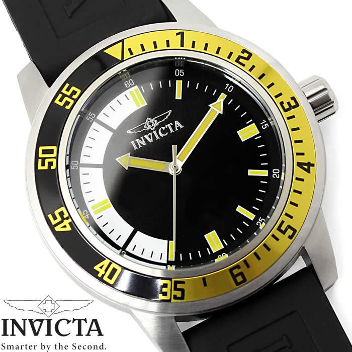 腕時計 メンズ INVICTA インビクタ スペシャリティ 12846 ウレタン イエロー シルバー ブラック クオーツ Specialty ウレタン ブランド 人気 プレゼント 特価 WATCH うでどけい【腕時計】【INVICTA/インビクタ】