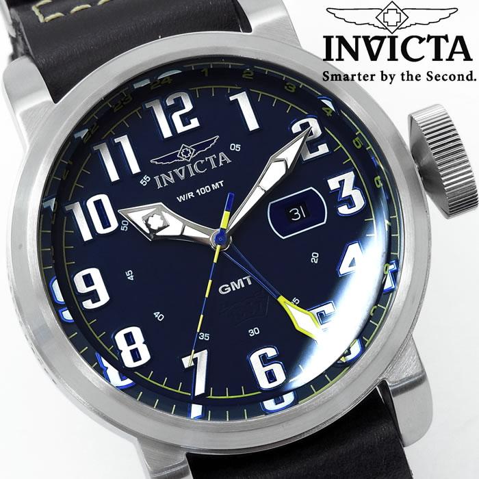 【送料無料】腕時計 メンズ INVICTA インビクタ アビエーター NATOベルト 革ベルト 18887 GMT ブランド Aviator レザー アナログ 人気 プレゼント ギフト 激安 特価 WATCH うでどけい【腕時計】【INVICTA/インビクタ/INVICTA】