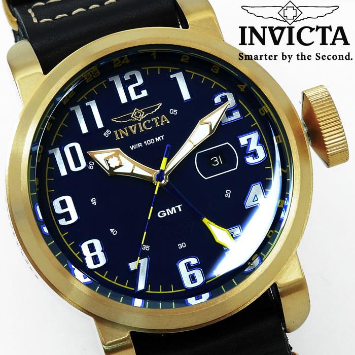 【送料無料】腕時計 メンズ INVICTA インビクタ アビエーター NATOベルト 革ベルト 18889 GMT ブランド Aviator レザー アナログ 人気 プレゼント ギフト 激安 特価 WATCH うでどけい【腕時計】【INVICTA/インビクタ/INVICTA】