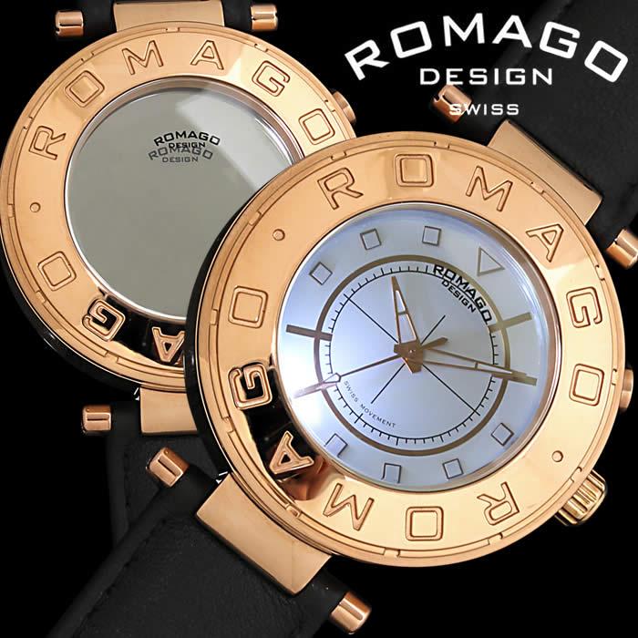 【送料無料】ロマゴ デザイン ROMAGO DESIGN 腕時計 レディース ミラーウォッチ フロー メンズ ユニセックス 革ベルト レザー 個性的 ローズゴールド RM002-0055ST-RG 人気 ブランド うでどけい とけい プレゼント ギフト【ROMAGO DESIGN/ロマゴデザイン】