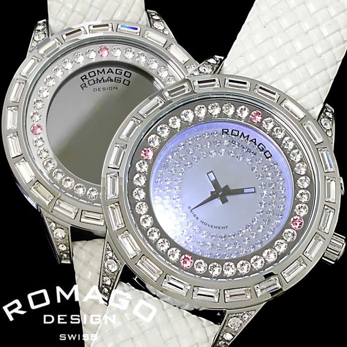 【送料無料】ロマゴ デザイン ROMAGO DESIGN 腕時計 レディース ミラーウォッチ ダズル ピンク ホワイト スワロフスキー キラキラ シルバー 個性的 RM006-1477SV-WH 人気 ブランド うでどけい とけい プレゼント ギフト【ROMAGO DESIGN/ロマゴデザイン】