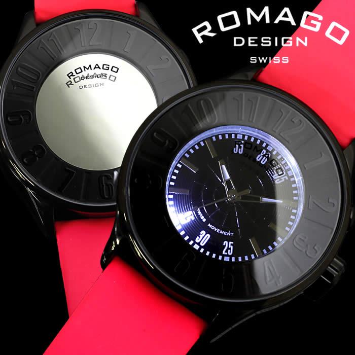 【送料無料】ロマゴ デザイン ROMAGO DESIGN 腕時計 レディース ミラーウォッチ ヌメレーション メンズ ユニセックス ピンク 個性的 おもしろ RM007-0053ST-LUBK 人気 ブランド うでどけい とけい プレゼント ギフト【ROMAGO DESIGN/ロマゴデザイン】