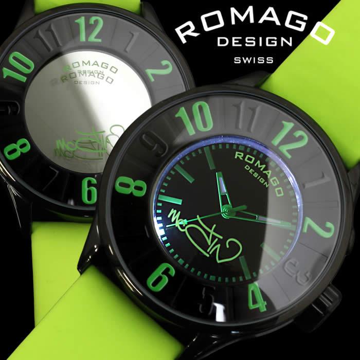 【送料無料】ロマゴ デザイン ROMAGO DESIGN 腕時計 レディース ミラーウォッチ ヌメレーション メンズ ユニセックス グリーン 個性的 RM007-0053ST-LUGR 人気 ブランド うでどけい とけい プレゼント ギフト【ROMAGO DESIGN/ロマゴデザイン】