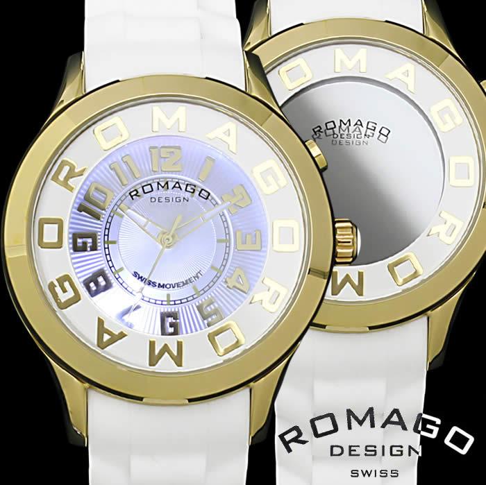 【送料無料】ロマゴ デザイン ROMAGO DESIGN 腕時計 レディース ミラーウォッチ アトラクション 男女兼用 メンズ シリコンベルト LED 個性的 RM015-0162PL-GDWH プレゼント 人気 ブランド うでどけい プレゼント ギフト【ROMAGO DESIGN/ロマゴデザイン】