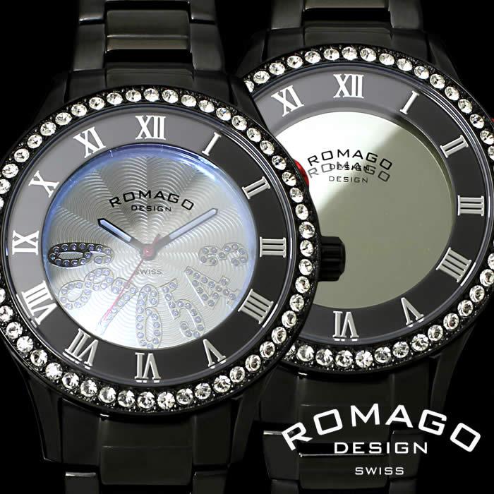 【送料無料】ロマゴ ROMAGO 腕時計 レディース ミラーウォッチ ラグジュアリーシリーズ Luxury series 男女兼用 メンズ RM019-0214SS-BKBK ユニセックス ブラック スワロフスキー ブランド うでどけい とけい プレゼント ギフト【ROMAGO DESIGN/ロマゴデザイン】
