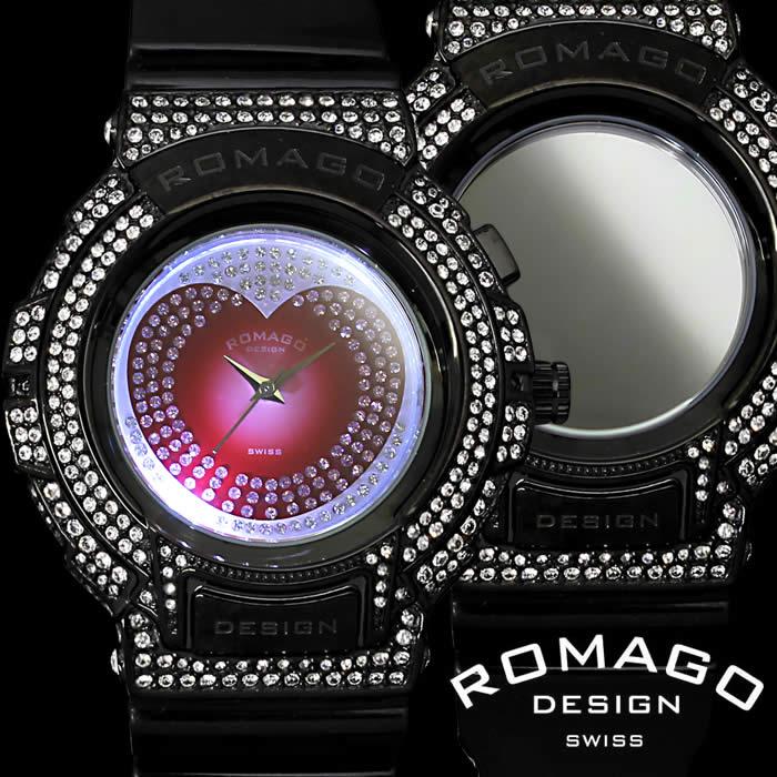 【送料無料】ロマゴ デザイン ROMAGO DESIGN 腕時計 レディース ミラーウォッチ トレンドシリーズ スワロフスキー ハート ウレタン LED 個性的 RM025-0269PL-SVBK プレゼント 人気 ブランド うでどけい プレゼント ギフト【ROMAGO DESIGN/ロマゴデザイン】