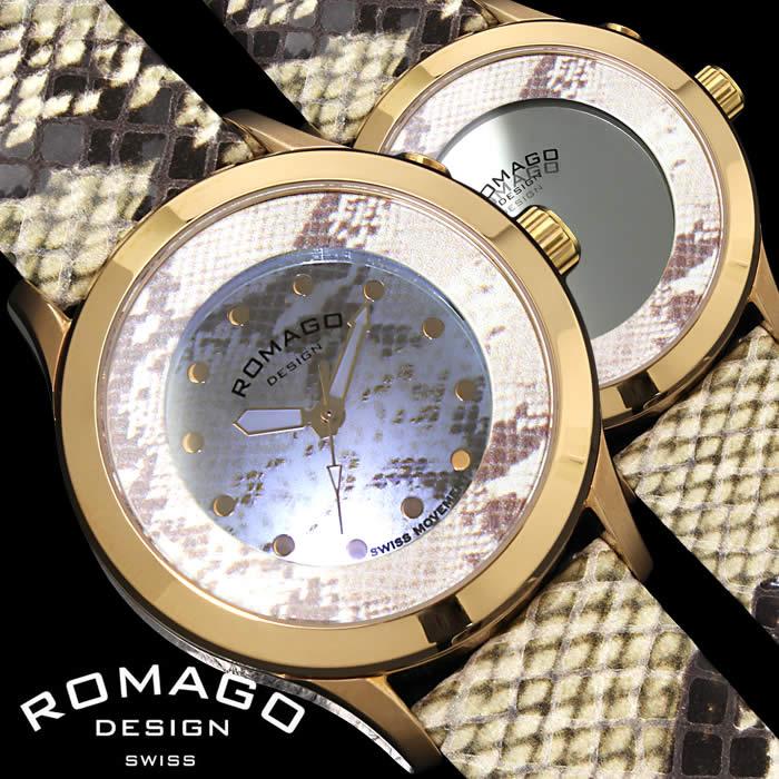 【送料無料】ロマゴ ROMAGO 腕時計 レディース ミラーウォッチ ヴァイブランシー メンズ レザー 革ベルト アニマル パイソン 個性的 RM047-0314ST-RG プレゼント ギフト 人気 ブランド うでどけい プレゼント ギフト【ROMAGO DESIGN/ロマゴデザイン】
