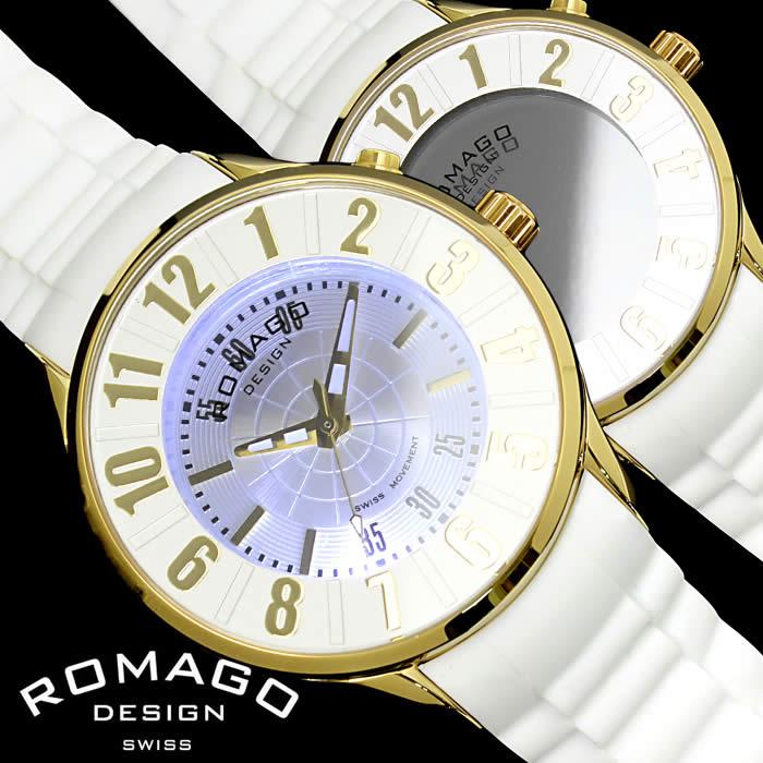 【送料無料】ロマゴ デザイン ROMAGO DESIGN 腕時計 レディース ミラーウォッチ ヌメレーション メンズ シリコンベルト LED 個性的 RM068-0053PL-GDWH プレゼント ギフト 人気 ブランド うでどけい プレゼント ギフト【ROMAGO DESIGN/ロマゴデザイン】