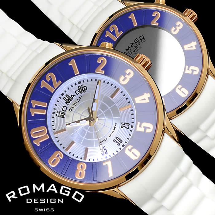 【送料無料】ロマゴ デザイン ROMAGO DESIGN 腕時計 レディース ミラーウォッチ ヌメレーション メンズ シリコンベルト LED 個性的 RM068-0053PL-RGBU プレゼント ギフト 人気 ブランド うでどけい プレゼント ギフト【ROMAGO DESIGN/ロマゴデザイン】